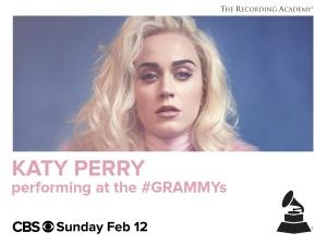 Katy Perry 将在2月12日格莱美颁奖礼演唱新歌